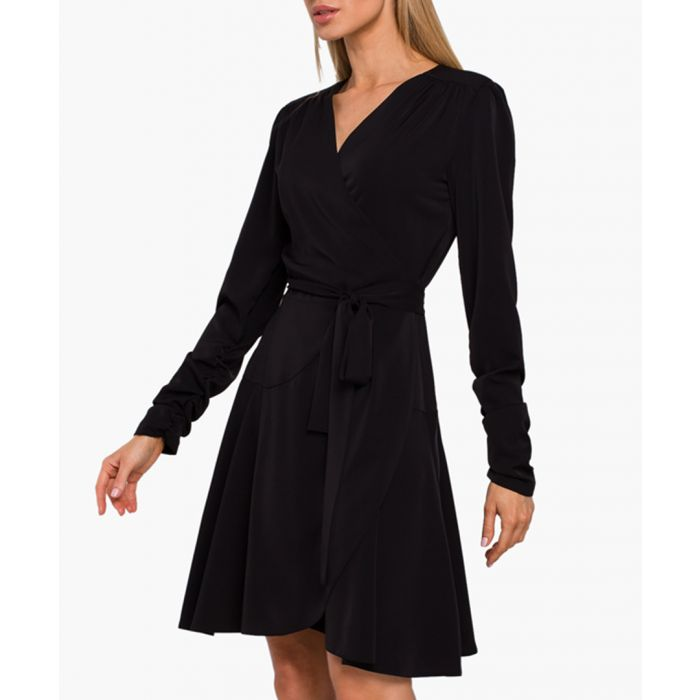 Image for Black flared wrap dress