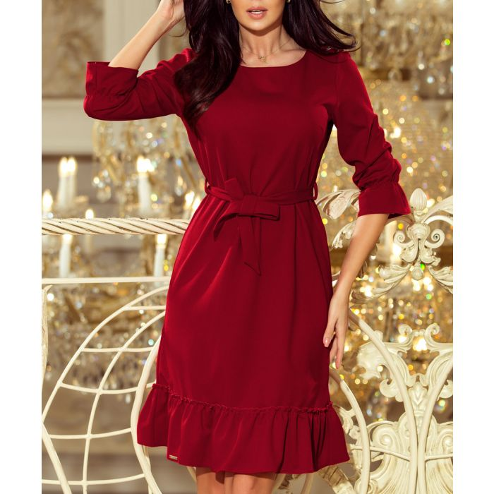 Image for Burgundy frill dress