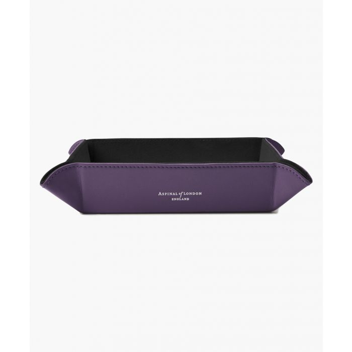 Image for Purple leather tidy tray