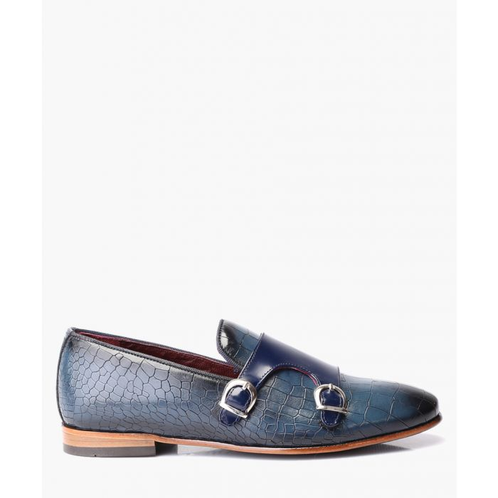 Image for Blue leather monkstrap shoes
