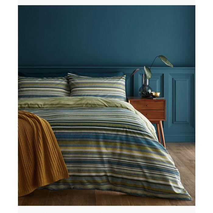 Image for Ravenna stripe green cotton blend single duvet set