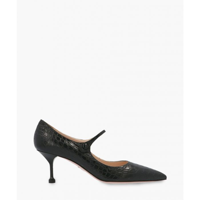 Image for Black croc embossed Mary Jane pumps