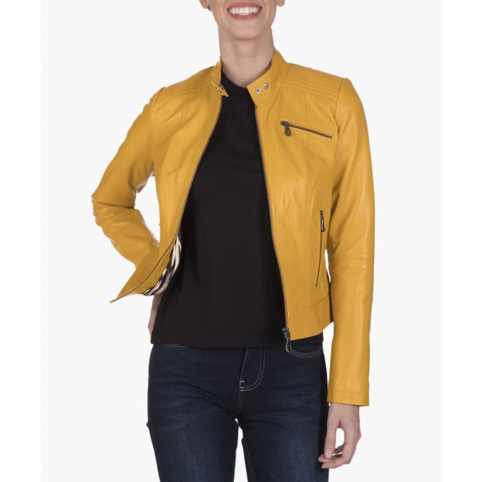 Image for Yellow leather biker jacket