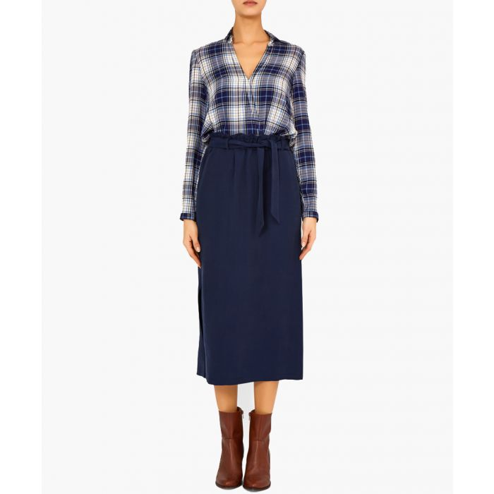 Image for Eleanora navy tie-waist midi skirt