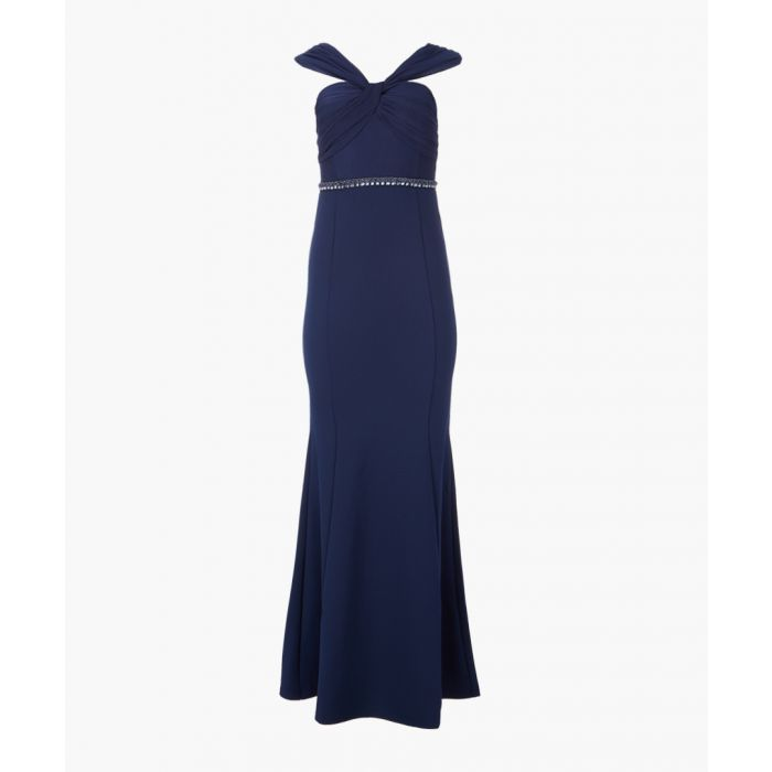 Image for Navy twist bodice maxi dress