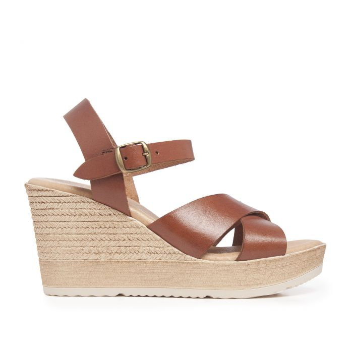 Image for Hight Wedge Leather Sandal for Women Eva Lopez