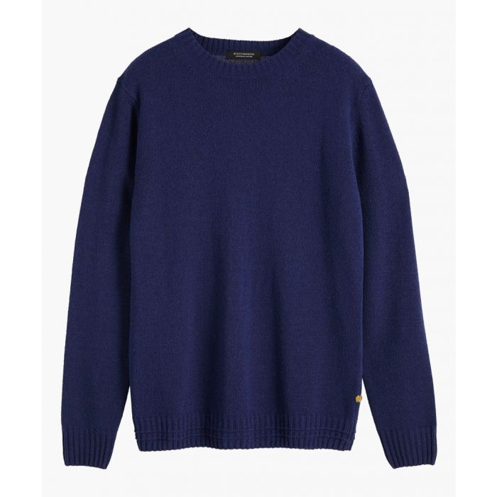 Image for Navy blue wool-blend crew neck jumper