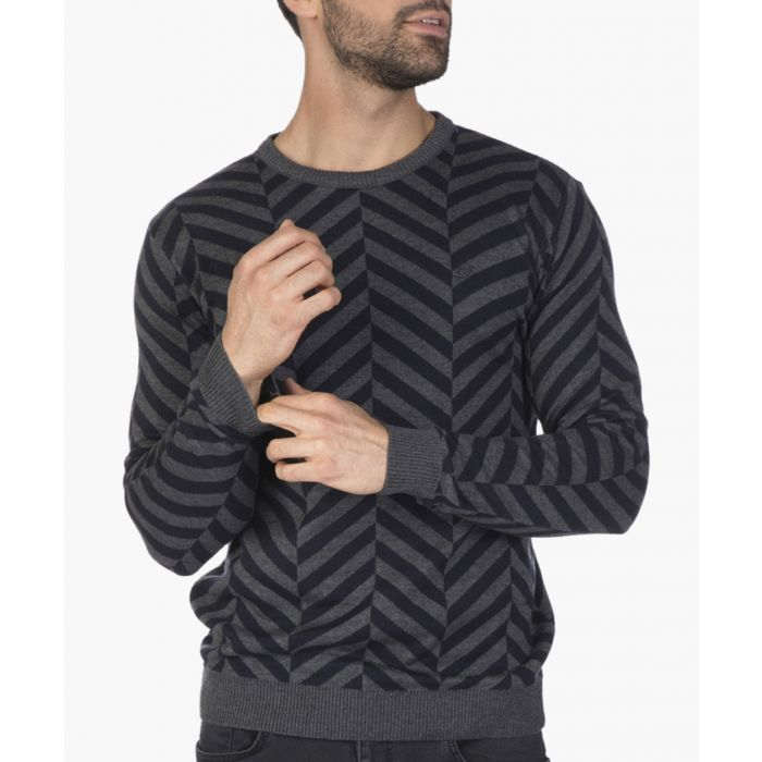 Image for Navy blue and grey cotton blend geometric jumper