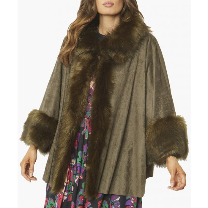 Image for Green faux suede and faux fur trimmed coat