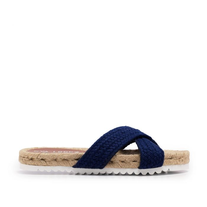 Image for Flat Yute Sandal for Women Navy blue Shoes Eva Lopez