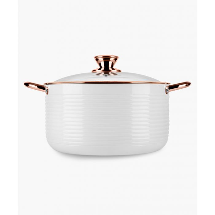 Image for White and rose gold-tone 24cm casserole dish