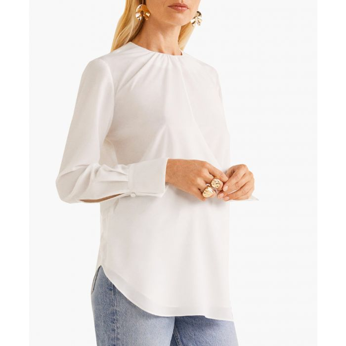 Image for Off-white ruched neck blouse