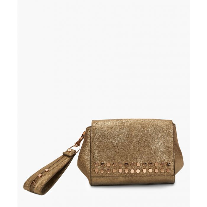 Image for Heston brown leather wristlet clutch
