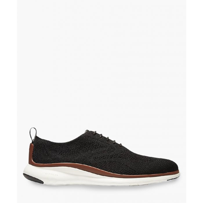 Image for Mens black knit Oxford shoes