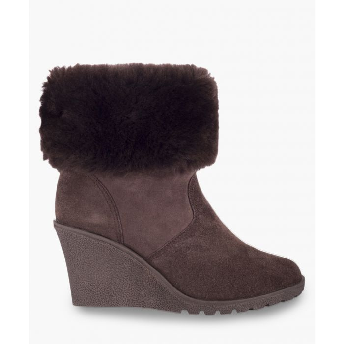 Image for Brown wedge zip-up boots