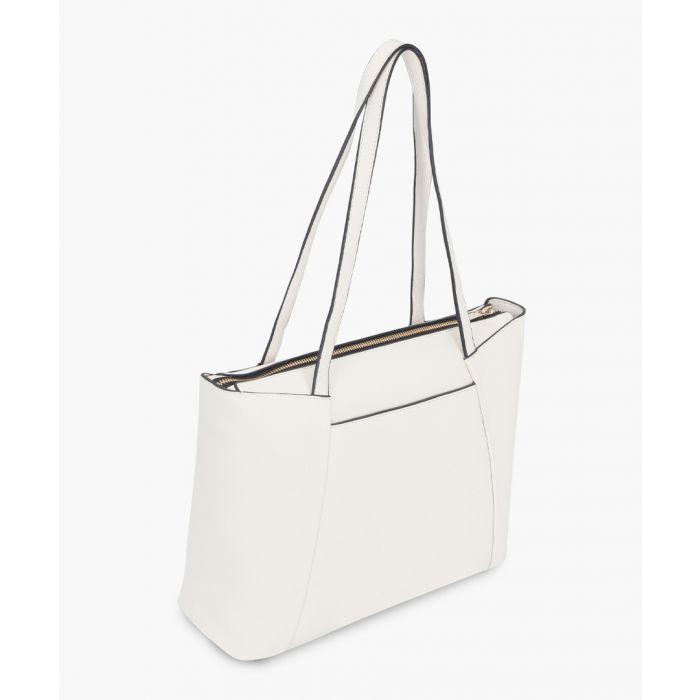 Image for Siena white leather shopper