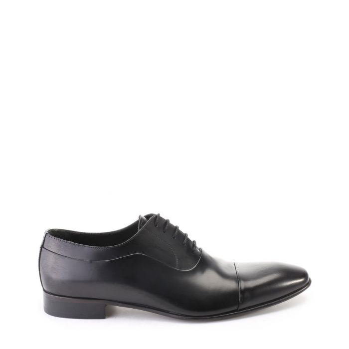 Image for Black leather lace-up Derby shoes