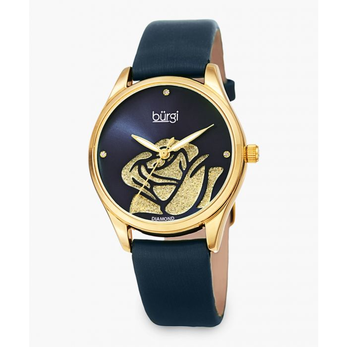 Image for Gold-tone and satin sheen leather rose embellished watch