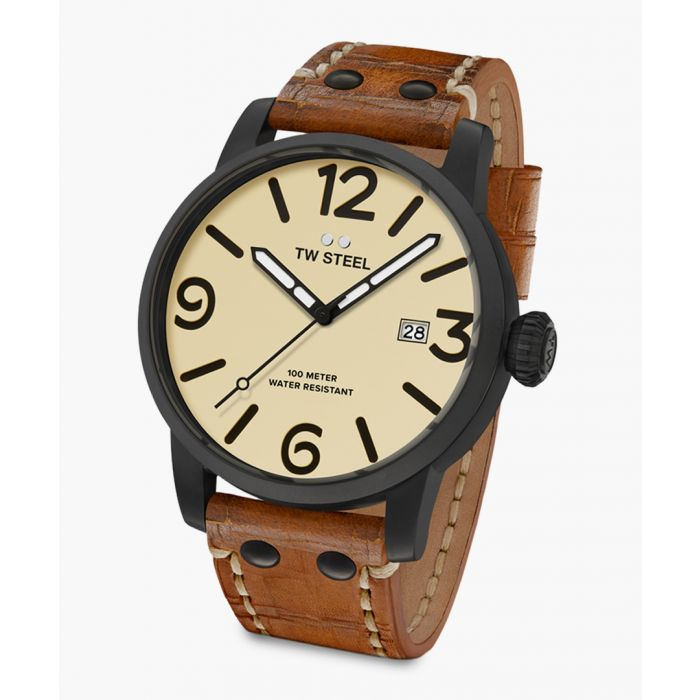 Image for Maverick grey steel and leather watch