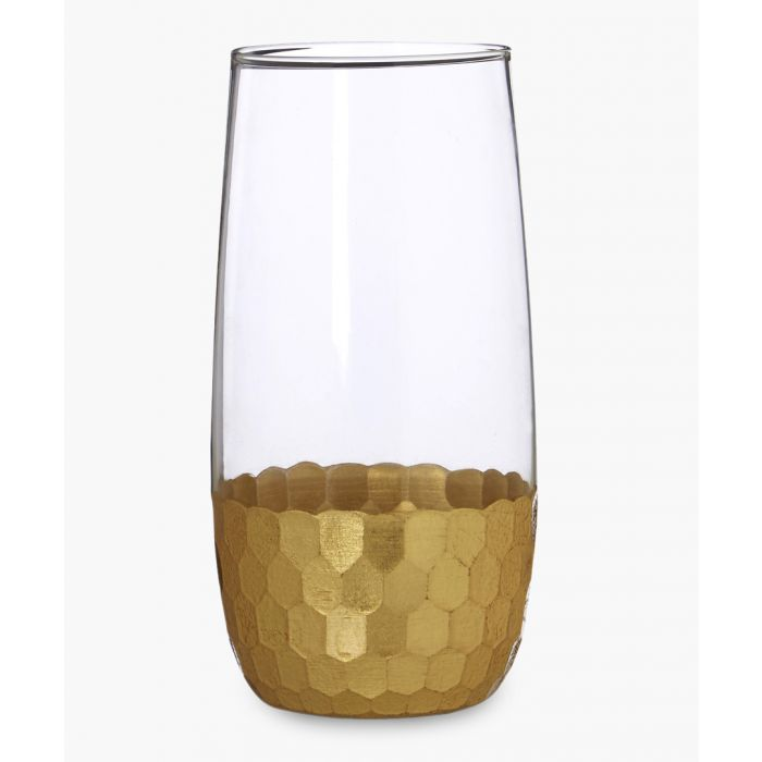 Image for 4pc Astrid gold-tone honeycomb highball glasses