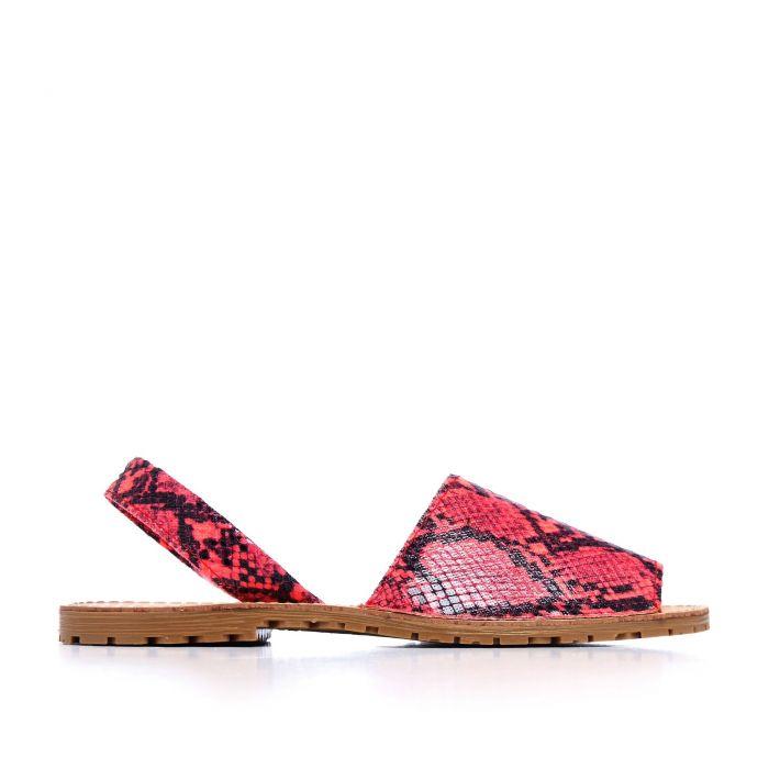 Image for Classic Leather Sandal Menorquina for Women Fuchsia Fluor snake. Maria Barcelo