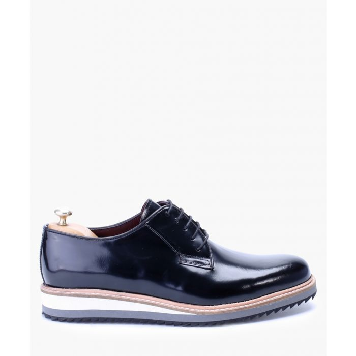 Image for Black high-shine leather derby shoes