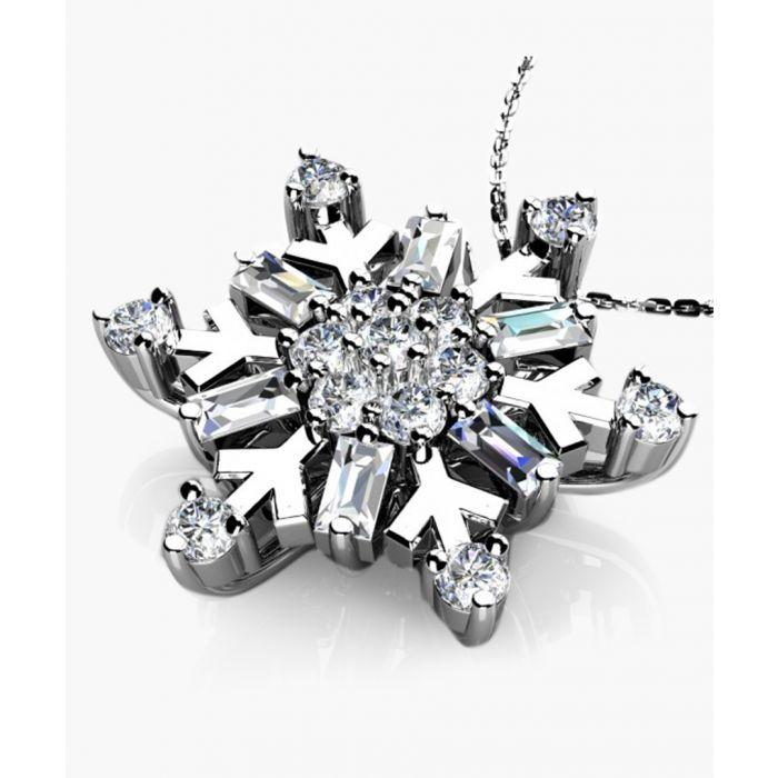 Image for 9k white gold 0.50ct diamond snowflake pendant