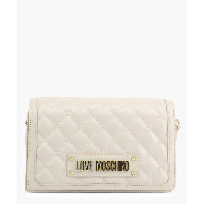 Image for Cream faux-leather shoulder bag