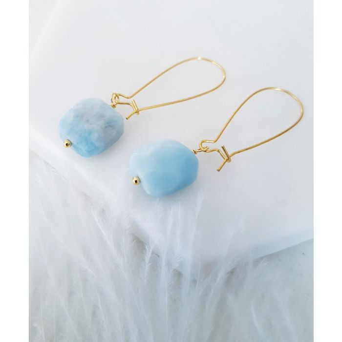 Image for 18k gold-plated and aquamarine earrings