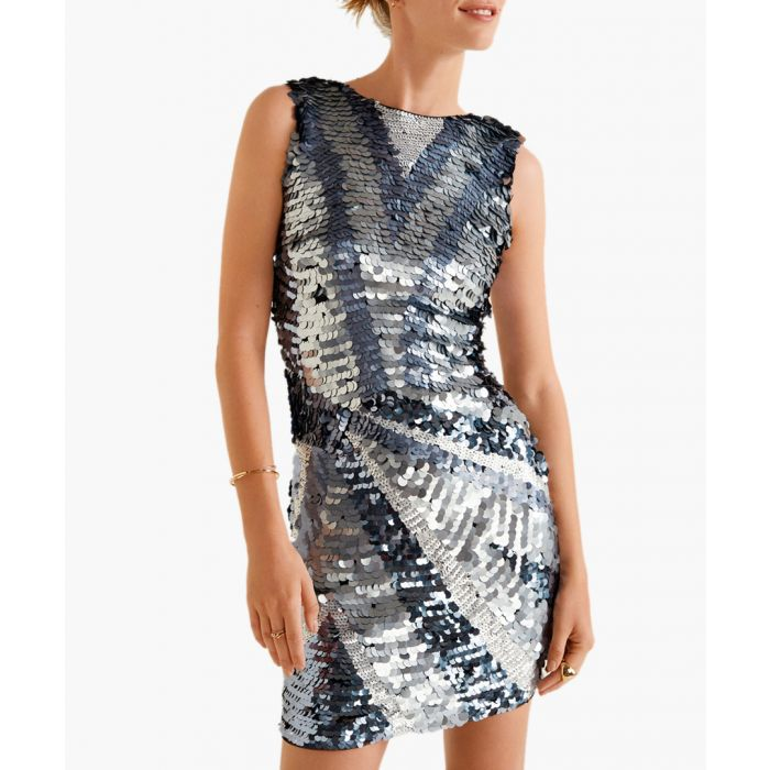 Image for Grey sequin contrast-bodice dress