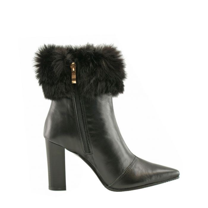 Image for Black leather furry heeled ankle boots