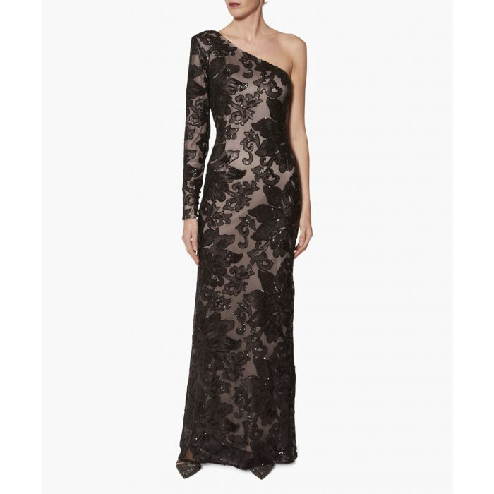 Image for Black and beige contessa sequin one shoulder maxi dress