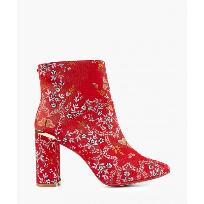 Image for Ishbel red and gold-tone floral jacquard ankle boot