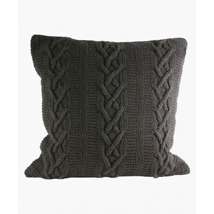 Image for Aran charcoal cotton square cushion