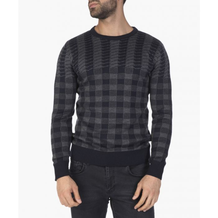 Image for Navy blue and grey grid print jumper