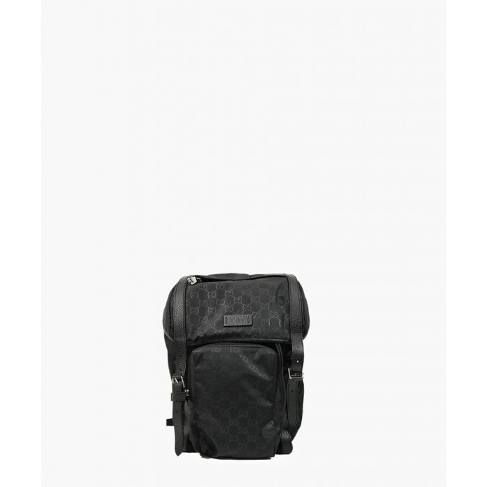 Image for Black nylon GG print and leather backpack