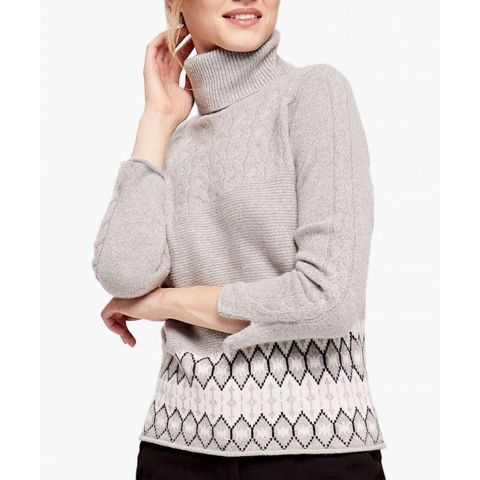 Image for Grey pure cashmere rollneck jumper