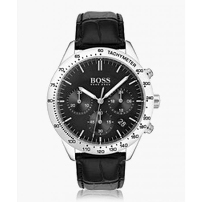 Image for Black leather watch