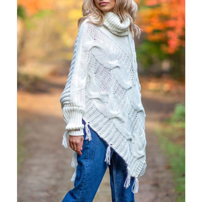 Image for Ecru knitted alpaca and wool blend poncho