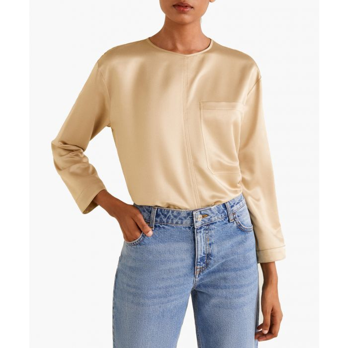 Image for Gold satin panel T-shirt