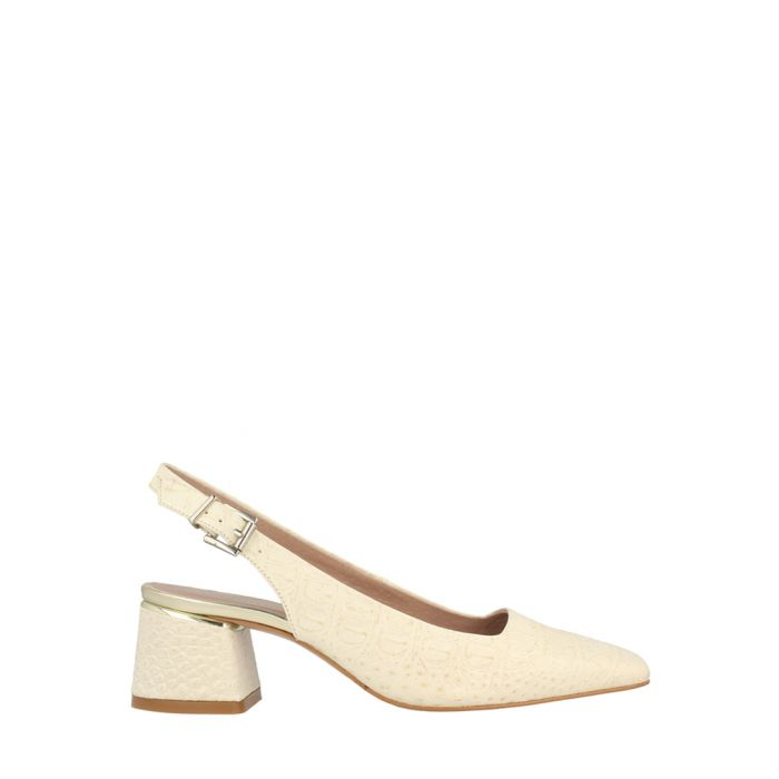 Image for beige leather mid slingbacks