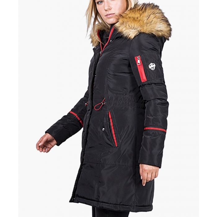 Image for Black faux fur hood shell parka