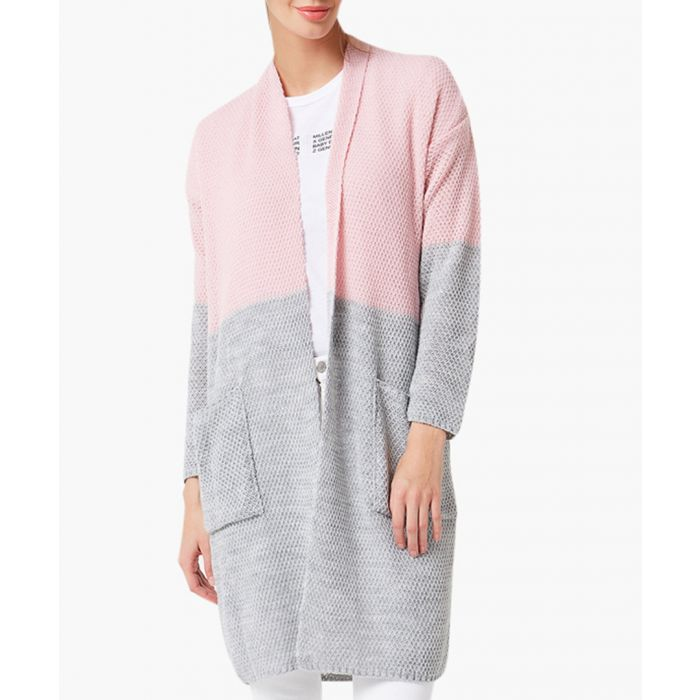 Image for Powder pink and grey loose cut cardigan