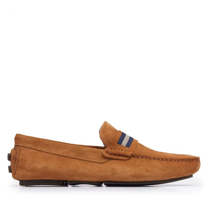 Image for Brown split leather moccasins