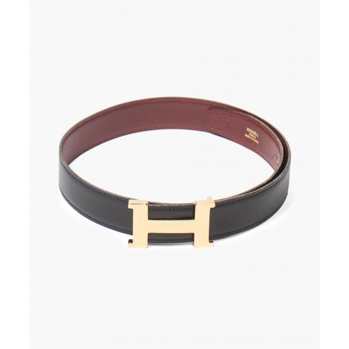 Image for black & red leather H belt