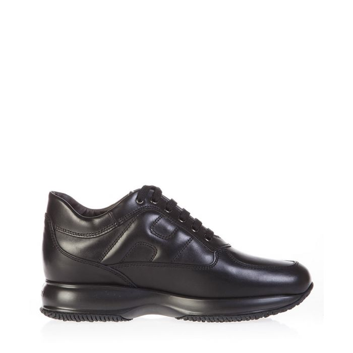 Image for Black leather lace-up trainers