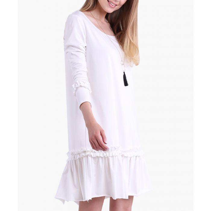 Image for Ecru Cotton Blend Dress