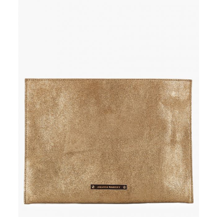 Image for Tyler bronze-tone  leather clutch