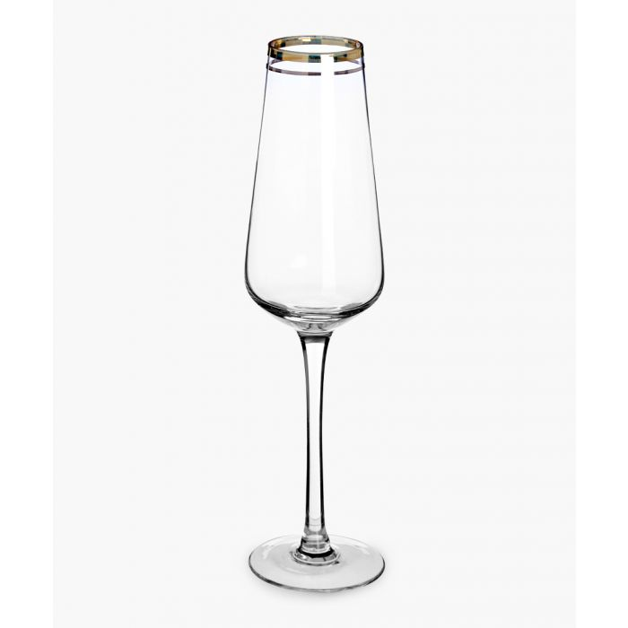 Image for 4pc Charlestone gold and silver-tone stripe champagne glasses