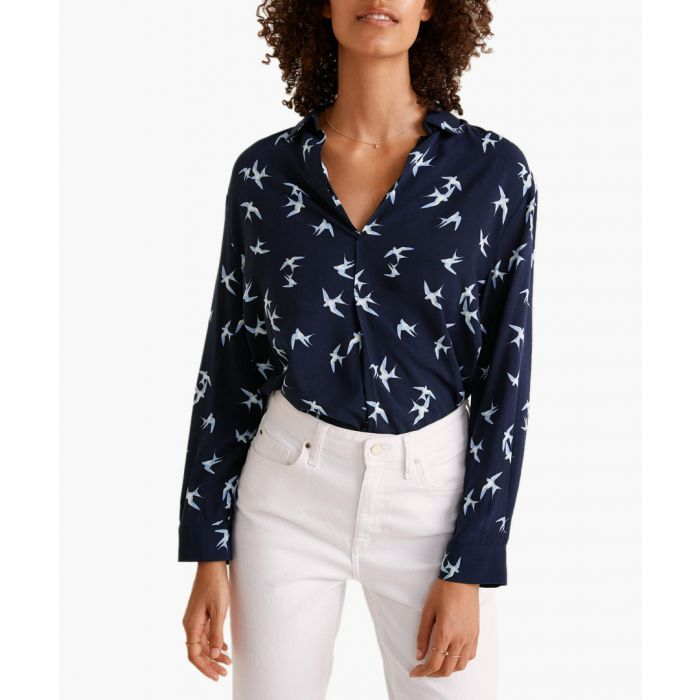 Image for Dark navy printed flowy shirt